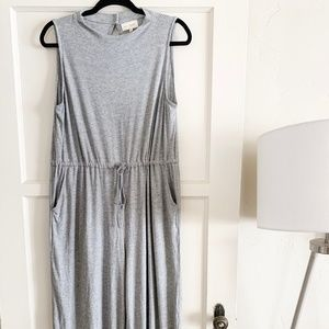 Mello Day Ribbed Heather Gray Wide Leg Knit Romper